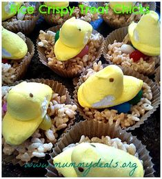 Rice crispy treats with a twist: They're chicks all ready for Easter!