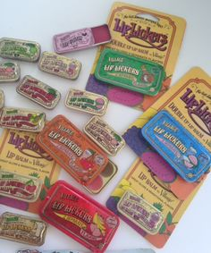 Village lip lickers collection along with TINte Cosmetics Vintage slider tin Bubble Gum flavored lip gloss