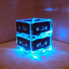 Inspiration pour le makerspace de Lille #luminaire MixTape Light Repurposed Cassettes Mixtape Night Light Mood Light Recycled.