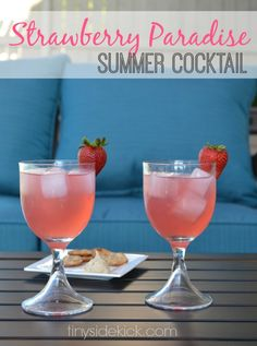 Strawberry Paradise Recipe {Drinks with the Girls} I can't wait to have my girlfriends over this summer and enjoy some fun cocktails! and other drinks! Vodka Cocktails, Summer Cocktails, Cocktail Drinks, Cocktail Recipes, Drink Recipes, Bourbon Drinks, Party Drinks, Fun Drinks, Alcoholic Drinks