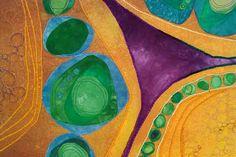 "Karen Kamenetzky Fiber Artist Cellular Dance  2004 24.5""w x 26""h   Hand dyed cotton,tulle, yarns  Machine quilted and pieced"