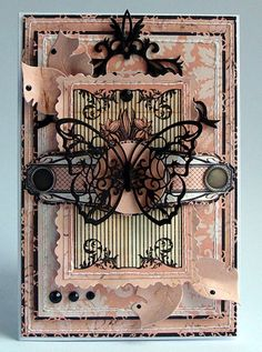 card with butterfly - frames layers vintage shabby chic - black pink - Dorota_mk Paper Art, Paper Crafts, Shabby Chic Cards, Beautiful Handmade Cards, Butterfly Cards, Pretty Cards, Card Tags, Vintage Cards, Vintage Pink
