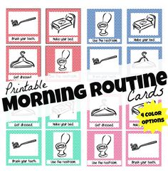 Printable Morning Routine Cards:  Make mornings with young kids easier!  All 4 colors available as a free download.
