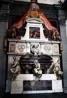The tomb of Michelangelo Buonoparte inside the church of Santa Croce, in Florence.