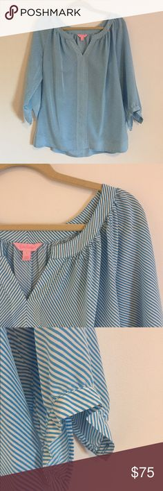 Blue and white striped Lilly Pulitzer tunic blouse Very pretty silk Lilly Pulitzer Elsa tunic and blue and white stripes in great condition true to size. A line shape button close three-quarter sleeves. Lilly Pulitzer Tops