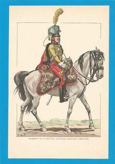 France - Planche de JOB - 1806 1812.HUSSARDS. 9ème Régiment.Trompette.
