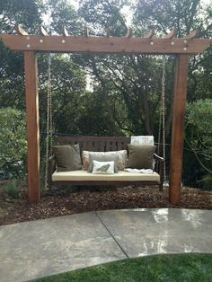 29 Wondeful DIY Bench Seating Area for Backyard Landscaping Ideas - Page 13 of 30 Backyard Swings, Backyard Patio, Backyard Landscaping, Outdoor Swings, Backyard Seating, Outdoor Pergola, Garden Seating Areas, Outdoor Bench Swing, Backyard Landscape Design