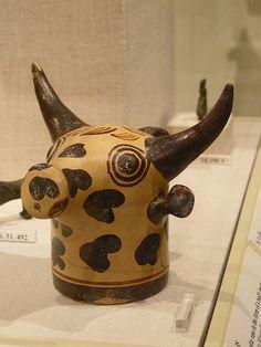 Terracotta vase in the form of a bull Minoan Late Minoan II 1450-1400 BCE (1) by mharrsch, via Flickr