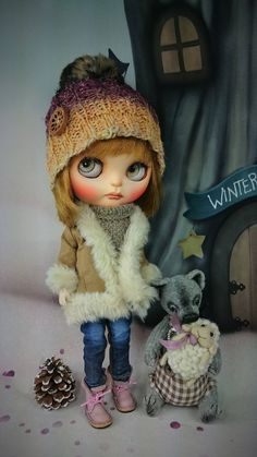 """Excited to share the latest addition to my #etsy shop: BLYTHE Doll Knit Hat """"Direwolf Decor"""" by Glitterbug Studio Pullip http://etsy.me/2B2AB4c #toys #dollclothes #hats #knit #hat #cap"""