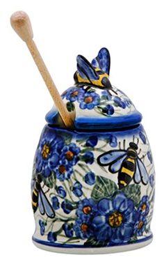 "Ceramika Polish Pottery Signature 6"" Bee Honey Jar with Dipper - BluePoppy Andy,http://www.amazon.com/dp/B00JD00VBG/ref=cm_sw_r_pi_dp_bLoEtb0QFDMJGVEN"