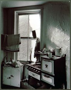 Kitchen in a cold-water flat in Perry Street, Greenvich Village -  The authors kitchen at 365 West 20th Street, New York, 1940