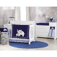 Theme-Koala Baby First Love 4 Piece Crib Bedding Set - Elephant - Navy/Light Blue