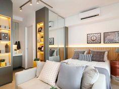 Quartos planejados: confira 65 projetos para você se inspirar - Tua Casa Chairs For Small Spaces, Small Rooms, Ikea Coffee Table, Hotels, Room Shelves, Suites, Shop Interior Design, Apartment Living, Decoration