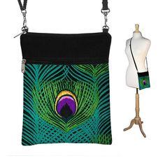 SALE Small Cross Body Bag  Crossbody Bag  Shoulder Bag Cross Body Purse Travel Purse  Zipper Peacock Feathers (MTO) on Etsy, $29.99