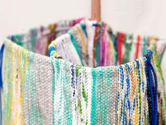 Made from recycled plastic bags, Plastex is a one-of-a-kind fabric woven on traditional Egyptian hand looms.