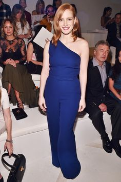 Jessica Chastain Photos Photos: Ralph Lauren - Front Row - Spring 2016 New York Fashion Week: The Shows Jessica Chastain, New York Fashion, Star Fashion, Fashion Outfits, Denim Outfits, Women's Fashion, Redhead Costume, Head Clothing, Redhead Fashion