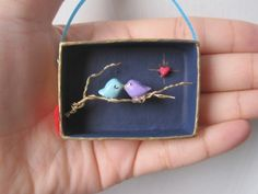Look at this Little Thing! - nicolenicoletta: Two Love Birds on a Tree Branch- Assemblage Art Box miniature diorama featuring handpainted birds, landscape, wire tree branch Cute Crafts, Diy And Crafts, Crafts For Kids, Arts And Crafts, Paper Crafts, Matchbox Crafts, Matchbox Art, Craft Projects, Projects To Try
