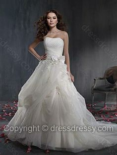 A-line Strapless Organza Satin Chapel Train White Flowers Wedding Dresses -$292.59