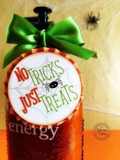 It's Written on the Wall: No Tricks, Just Treats Halloween Gift/Treat Tag--For Friends,Neighbors, Teachers-Cupcake Toppers Halloween Teacher Gifts, Halloween Tags, Halloween Party Favors, Halloween Themes, Halloween Decorations, Halloween Stuff, Teacher Cupcakes, Staff Gifts, Cupcake Toppers