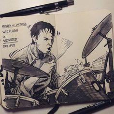 Eu sei, eu tô um dia atrasado... esse era pra sair ontem, mas não deu.... #inktober #inktober2016 #worried #Whiplash #MilesTeller #AndrewNeyman #day12 #nanquim #sketch #sketchbook #drawing #dessin #desenho #handmade #workproud