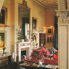 The Drawing Room at Broadlands, circa Photo by Derry Moore for Architectural Digest.The Devoted Classicist: Broadlands Stately Home, Salas Living Room, Beautiful Interiors, Drawing Room, Yellow Interior, English Design, English Decor, English Country House, Belton House