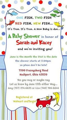 Printable Dr Seuss Baby Shower Invitations For One Baby or Twins