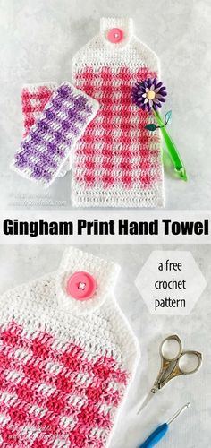 Make this free and beginner friendly gingham print hand towel with my free crochet pattern today! It is a fast spring or summer project and a perfect way to easily update your kitchen decor. A video tutorial is also available for right and left handed crocheters. #crochet #freecrochetpattern #videotutorial #gingham