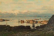 Normann, Adelsteen (1848-1918) Fiskevær i Lofoten Olje på lerret, Signert nede t.h.: A. Normann