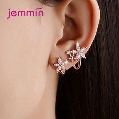 7Pcs//Set Women Rhinestone Inlaid Round Heart Dangle Hoop Earrings Jewelry Charm