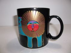 Vintage LAUREL BURCH LEOPARD CAT MUG Turquoise Coffee Cup MWOB
