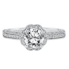 Shop ArtCarved 14K White Gold Althea Diamond Engagement Ring Setting - Borsheims.com