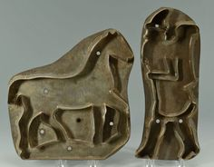 543: Early Tin Large Cookie Cutters:  Horse and Santa with his Pack on his back.
