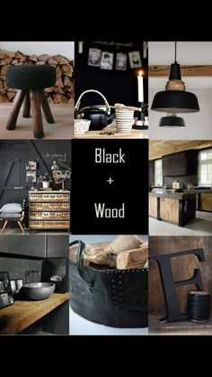 Black and wood Home Staging, Color Collage, Doors And Floors, Decoration, Kitchen Living, Tiny House Living, Mood Boards, Antiques, Flooring