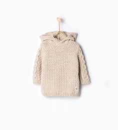 Knit sweater with hood