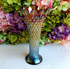 Beautiful Vintage Northwood Carnival Glass Vase ~ Diamond Point ~ Amethyst #Northwood