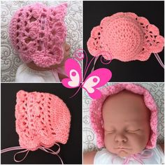 Knit and Crochet Patterns, Instructional Videos, Tips, etc. Baby Bonnet Pattern, Baby Cardigan Knitting Pattern Free, Crochet Baby Bonnet, Baby Hat Patterns, Baby Hats Knitting, Baby Girl Crochet, Beanie Pattern, Baby Blanket Crochet, Crochet Patterns
