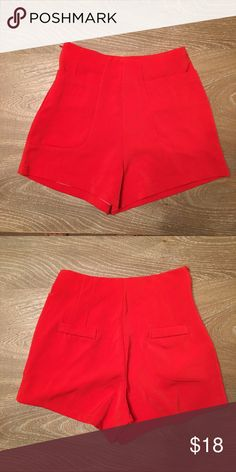 """Highwaisted shorts- red Red high waisted shorts with front pockets. Side zip closure. Waistband:24"""" length:13"""" size :S. NWOT Vintage Shorts Skorts"""