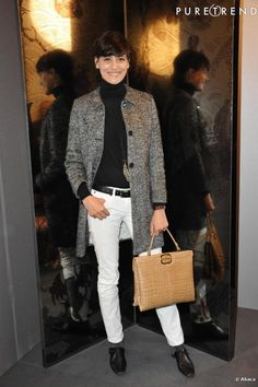 Love the black and white with camel bag! Ines de la Fressange