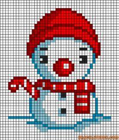 #拼豆# #拼豆图纸# #拼拼豆豆# 圣诞雪人