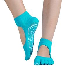 Tomily Full Toe Exercise Yoga Socks Pilates Barre Sock Grip Girl Women Blue *** You can find out more details at the affiliate link of the image.
