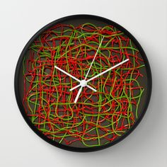 #Candy Mesh - Red and Green strings Wall #Clock #sweet #food #colorful #jellybeans #interior #living #home
