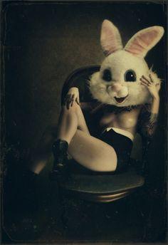 Seanna Miriah Rabbit Mask Woman in Chair GRiM 2010