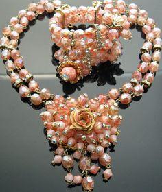 Vintage HOBE Pink Crystal Glass Bead Necklace Bracelet Set Rhinestone Designer | burlesquedream