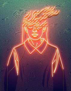 Neon lights and blowing hair