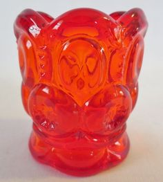 Vintage KANAWHA Dunbar Art Glass AMBERINA Moon & Stars Toothpick Holder