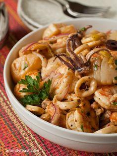 Seafood Salad | www.afamilyfeast.com | A wonderful taste of the ocean in salad form!  Incredible!