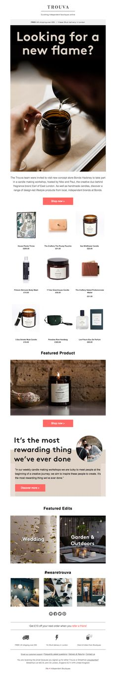 @wearetrouva sent this email with the subject line: Looking for a new flame? - Read about this email and find more promotion emails at ReallyGoodEmails.com #homedecor #furniture #promotion