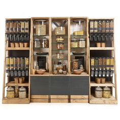 Creative rustic wall shelving for shopfitting and re-fits. Shop Shelving, Retail Shelving, Gift Shop Interiors, Wooden Shelving Units, Bulk Store, Glamping, Coffee Shop Interior Design, Wood Pallet Art, Shop Fittings