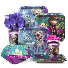 Designware Disney Frozen Party Supplies Pack Including Plates Cutlery Cups Napkins for 8 Guests * Visit the image link more details. Frozen Birthday Theme, Frozen Themed Birthday Party, 4th Birthday Parties, Birthday Party Decorations, Birthday Ideas, 5th Birthday, Disney Birthday, Frozen Birthday Supplies, Party Favors