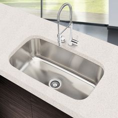 Refresh your kitchen with this Dseigner Collection 18-gauge stainless steel sink. The durable construction of this sink paired with its great size will fit your large dishes as well as your kitchen decor.